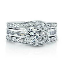 BERRICLE Sterling Silver Round CZ Solitaire Engagement Ring Set 2.085 Carat