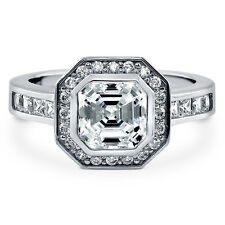 BERRICLE Sterling Silver 2.68 Carat Asscher Cut CZ Halo Engagement Ring