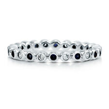 BERRICLE Sterling Silver Round Simulated Blue Sapphire CZ Eternity Band Ring