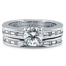 BERRICLE Sterling Silver Round CZ Solitaire Engagement Ring Set 1.945 Carat