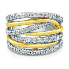 BERRICLE Yellow Gold Plated Sterling Silver CZ Woven Right Hand Cocktail Ring