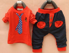 Baby Boy Kids Sportswear Clothes Tie Print Child Long Sleeve Shirt Pant Outfit