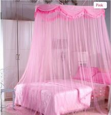 Luxury Ruffle Canopy Bedroom Curtains Pink Mosquito Net Netting Mesh Queen King