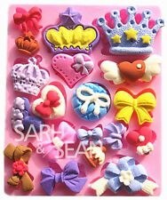 Crown bows silicone mold for fimo resin polymer clay fondant cake chocolate 462