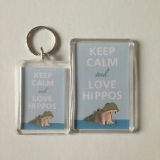 KEEP CALM AND LOVE HIPPOS Keyring or Fridge Magnet 1 GIFT PRESENT IDEA
