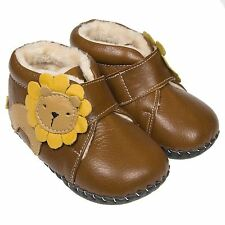 Boys Girls Toddler REAL Leather Soft Sole Baby Boots Booties Tan Brown with Lion