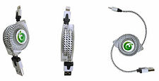 NEW APPLE IPHONE 6 IPHONE 6 PLUS IPADS RETRACTABLE FLAT BRAIDED CABLE CORD WIRE