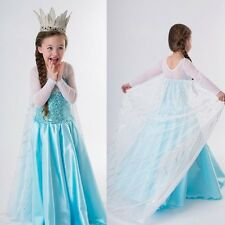 Frozen Elsa Dress Up Gown Costume Ice Princess Queen Dress Size 3-8Y