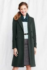 NEW WOMENS 6 8 10 16 LANDS END LUXE WOOL DOUBLE BREASTED COAT FULL LENGTH GREEN