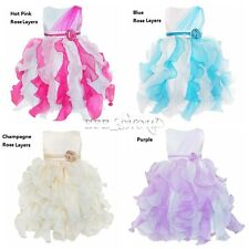 Girls Flower Bow Dress Multi-layers Wedding Pageant Kids Clothes Size 2-10 New