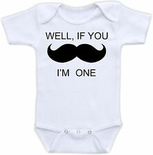 Well If You Mustache I'm One Cute Baby Onesie Funny Onsie Moustache Shower Gift