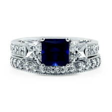 BERRICLE Sterling Silver Princess Simulated Blue Sapphire CZ 3 Stone Ring Set