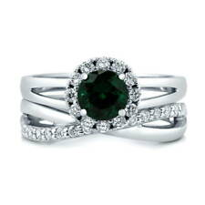 Silver Simulated Emerald CZ Criss Cross Halo Engagement Ring Set 1.23 CT