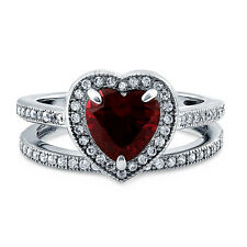 BERRICLE Sterling Silver Heart Shaped Simulated Ruby CZ Halo Engagement Ring Set