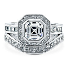 BERRICLE Sterling Silver Asscher CZ Halo Engagement Ring Set 2.95 Carat