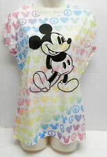 DISNEY MICKEY MOUSE GLITTER GRAPHIC 100% POLYESTER MICKEY LOGO SKETCH PEACE TEE