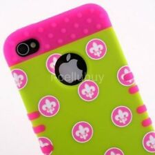 Fleur de lis Hot Pink 2 in 1 Hybrid Skin & Snap-On Case Cover For iPhone 4 4s