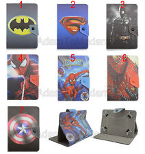 "Folio Fold Super Hero Cute Cartoon Leather Case Cover For 7"" Acer Asus HP Tablet"