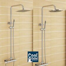 "Easy Square/Round 8"" Twin Head Thermostatic Shower Mixer Valve Chrome Bathroom"