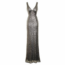 Womens Long Silver Sequin Fishtail Maxi Christmas Party Prom Evening Dress