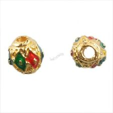 New Charm Colorful Enamel Round Silvery & Golden Cloisonne Spacer Beads Findings
