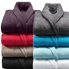 100% Cotton Terry Toweling Shawl Collar Bathrobe Dressing Gown Bath Robe