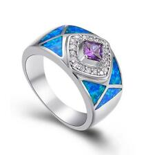 Wedding Party Jewelry Gift Amethyst & Blue Fire Opal Silver Ring size 6 7 8 9