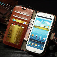 Genuine Real Leather Photo Wallet Case Cover For Samsung Galaxy S3 Mini i8190