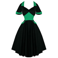 Hell Bunny Black Green Vampiress Rockabilly Vintage 50s Party Prom Dress