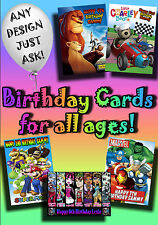 PERSONALISED birthday card. Large A5 size 100s of designs incl disney greetings