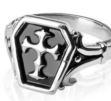 New Stainless Steel Mens Silver/Black Celtic/Medieval/Cross Ring,Size 9-14(0210)