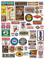 1:18 1:24 MECHANIC GARAGE SIGNS 1 DECALS FOR DIECAST & MODEL CAR DIORAMAS