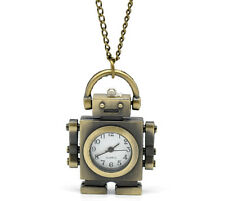 Wholesale New Bronze Tone HOTSELL Necklace Quartz Robot Pocket Watch 85cm