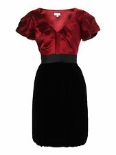 Untold by House of Fraser red silk black velvet dress UK 8 10 12 14 16 Brand New