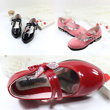 Princess Girl Kid Baby Bow Shoes Slip On Flats PU  Dress Casual Velcro