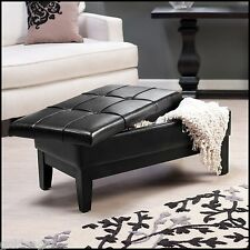 Tufted Leather Storage Bench Ottoman Furniture Home Decor Accent Lift Top Sturdy