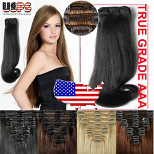 New THICK Clip In Remy Human Hair Extensions Full Head US Double Weft 180g+ E703