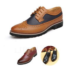 Men Business Wingtip Oxfords Dress Formal Brogue Lace Up Casual Leather Shoes