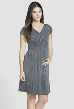 New JAPANESE WEEKEND MATERNITY Clothes Nursing Twist Front Polka Dot Dress