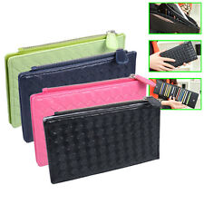 Good Gift Manual Weave Long Holder Purse Zipper Wallet Money PU Leather Bag