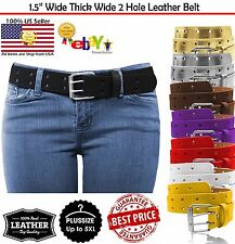 New Mens 2 Double Holes Dress Casual Leather Belt 2Prong Roller Removable Buckle