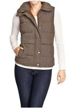 NEW WOMENS PS PXL XL OLD NAVY QUILTED TWEED PUFFER VEST KHAKI BROWN  JACKET