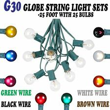 25 Foot G30 Outdoor Globe Patio String Lights - Set of 25 G30 Bulbs- All Colors