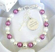 Girls Boys Engraved First Holy Communion Christening Personalised Bracelet