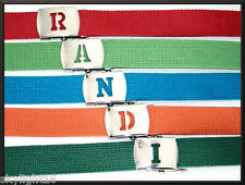 """U to Z INITIALED SILVER Metal Buckle Military Canvas WEB Belt 1 1/4"""" Wide"""