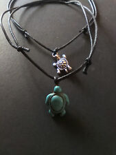 Turquoise Silver Tortoise/ Turtle cord necklace/choker/anklet/bracelet/earrings