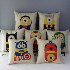 Cute Minions Superman Ironman Cotton Linen Throw Pillow Case Cushion Cover Decor