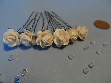 6 ROSE HAIR PINS GRIPS FLOWER WEDDING ACCESSORIES 30 COLOURS AVAILABLE