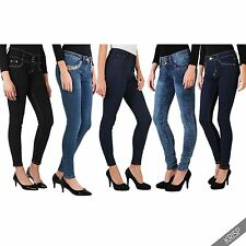 Womens High Waist Faded Light Wash Skinny Slim Fit Denim Jeans Trousers Pants