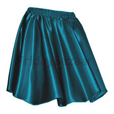 Teal Women Lady Satin Pleated Retro High Waist Shiny Mini Skirt Club Girl S~3XL